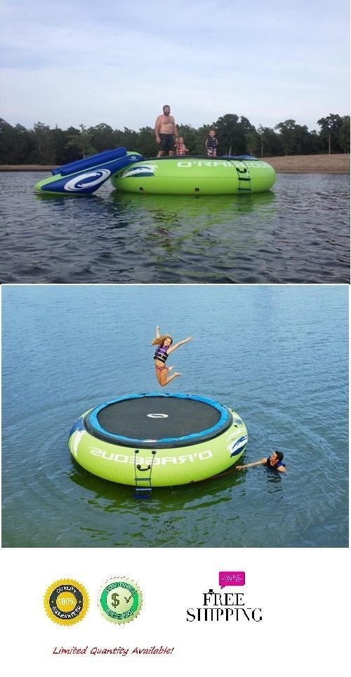 Inflatable Water Trampoline 13 Ft Floating Island Lake Raft Bouncer Anchor Kids #InflatableWaterTrampoline13Ft