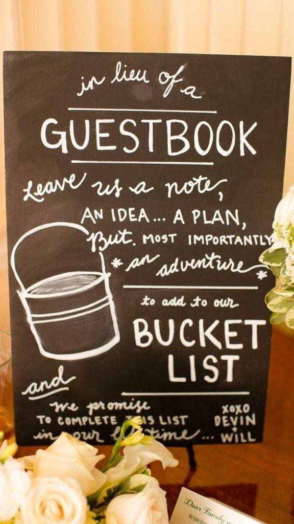 Some of the best wedding day ideas we've seen yet including this great idea for an alternative guestbook idea -- bet that bucket was full of amazing life inspiration!