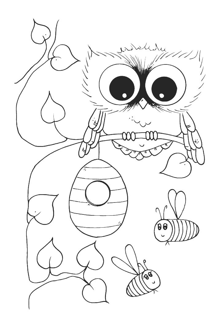 cute owl with bees coloring pages owl coloring pages kidsdrawing free coloring pages