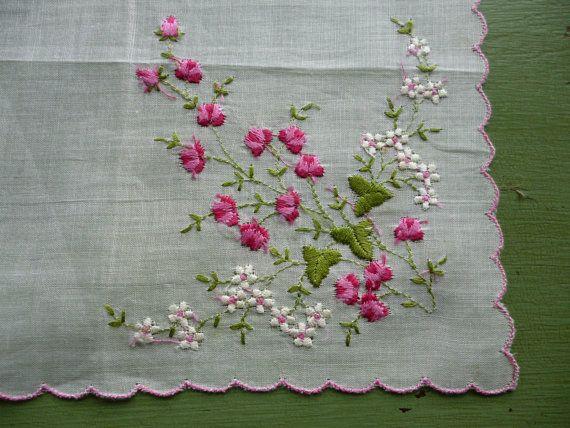 Vintage White Embroidered Handkerchief by PamelaMurphyVintage
