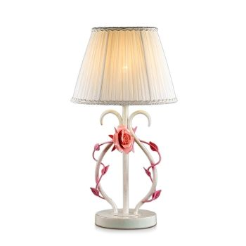 Фото Настольная лампа Padma, 1xЕ14, Белый/Ткань/Хрусталь/Керамические Розовые Розы (Odeon Light, 2685/1T) от магазина Amppa.ru