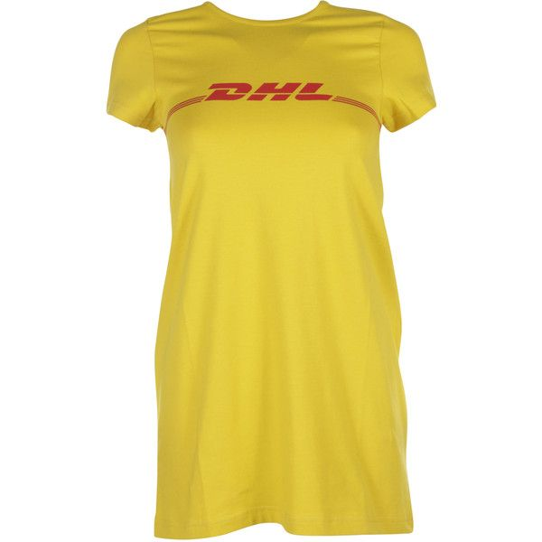 VETEMENTS Short Sleeve T-Shirts ($235) ❤ liked on Polyvore featuring tops, t-shirts, dresses, yellow, vetements t shirt, yellow t shirt, yellow top, yellow tee and short sleeve tops