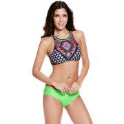 Cali Chic Juniors' Swimsuit Vintage Two-piece High Neck Tankini