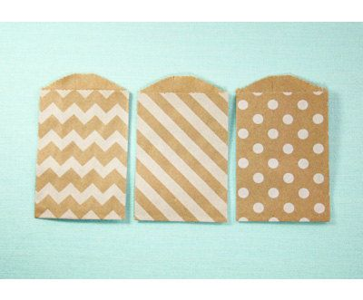 Itty Bitty Bags Kraft with White Chevron Striped by endlessinkabilities, $5.00
