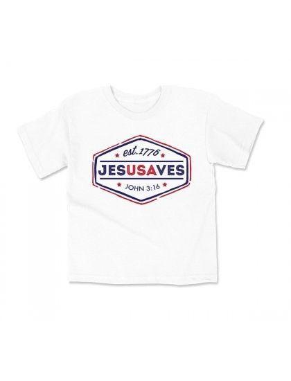 White Jesus Saves Kids T-Shirt