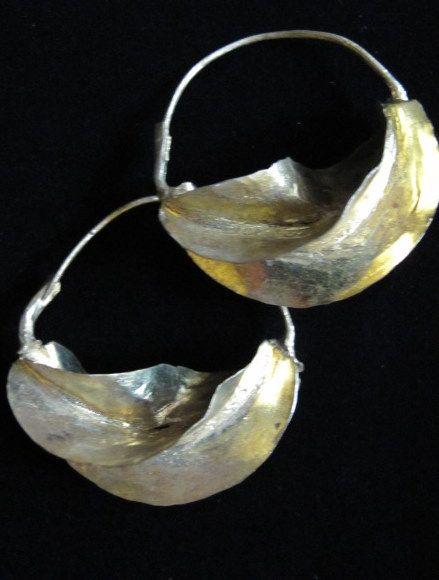 African Earrings | Large African Fulani Twisted-Hoop Tribal Jewelry Earrings