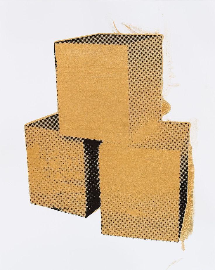"""#LifeOnWall #PapeBoxGallery """"Boxes Gold"""" Unique high quality art piece (only one). Handmade silkscreen and paint. Paper 300 g Gallerie Art Silk. Size 25,98 x 18,11 Inch (66 x 46 cm). 168 USD"""