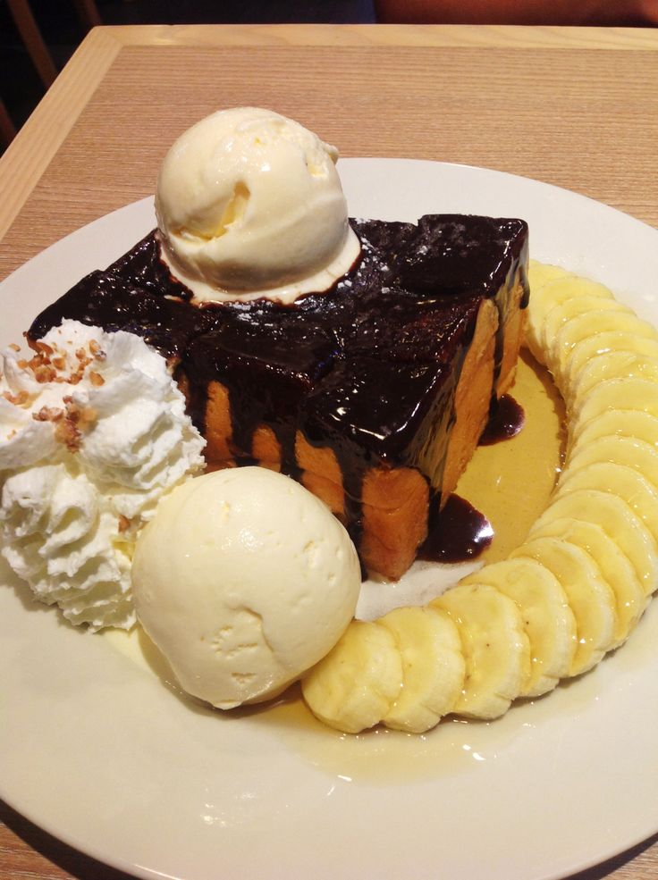 chocolate Banana toast at after you #cake #honeytoast #toast #banana #vanila