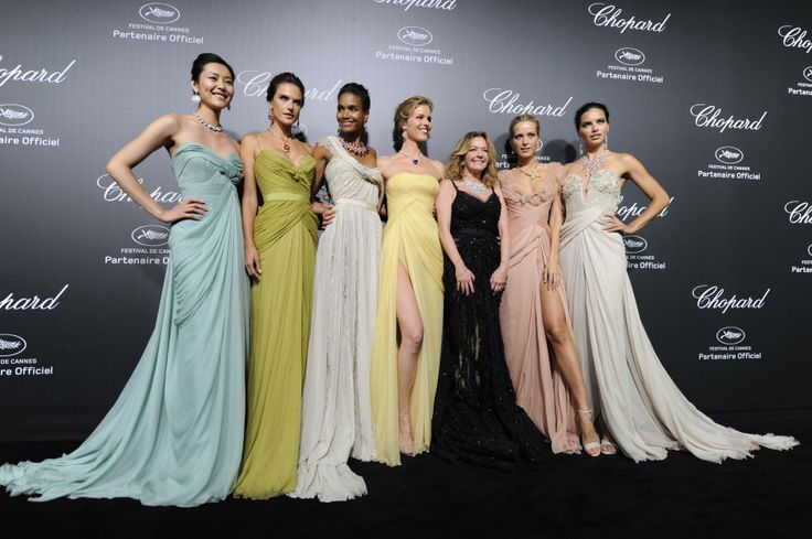 Supermodels - Liu, Alessandra, Arlenis, Eva, Petra, Adriana & Chopard President Caroline Scheufele, steal the show in ELIE SAAB Haute Couture at the #Chopard Backstage Event. #TheLightOfCannes www.TheLightOfCannes.com