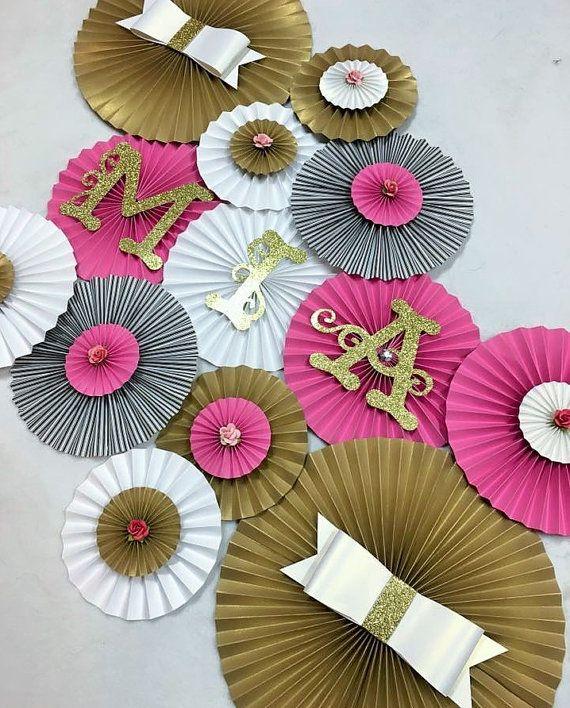 Kate Spade Inspired Fan Backdrop- Set of 13, Kate Spade Bridal Shower, Kate Spade Birthday, Girly Birthday, Black/Pink/Gold Backdrop