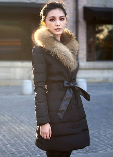 Winter Essential Long Sleeve Black Coat with Faux Fur