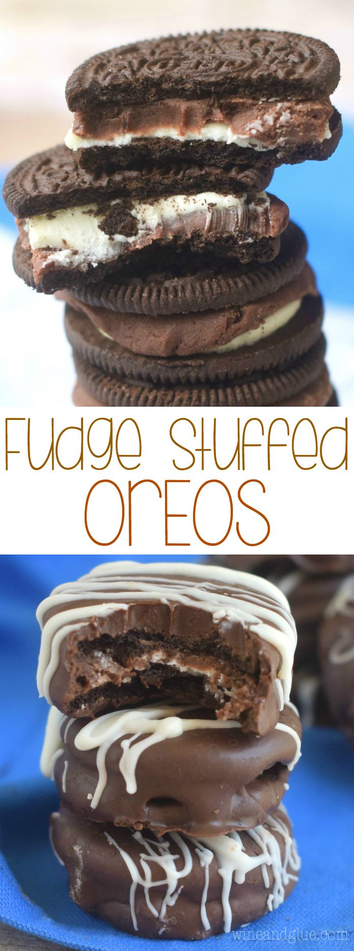 Fudge Stuffed Oreos! These amazingly delicious little cookies are so crazy good you won't ever want to eat Oreos without that layer of fudge!