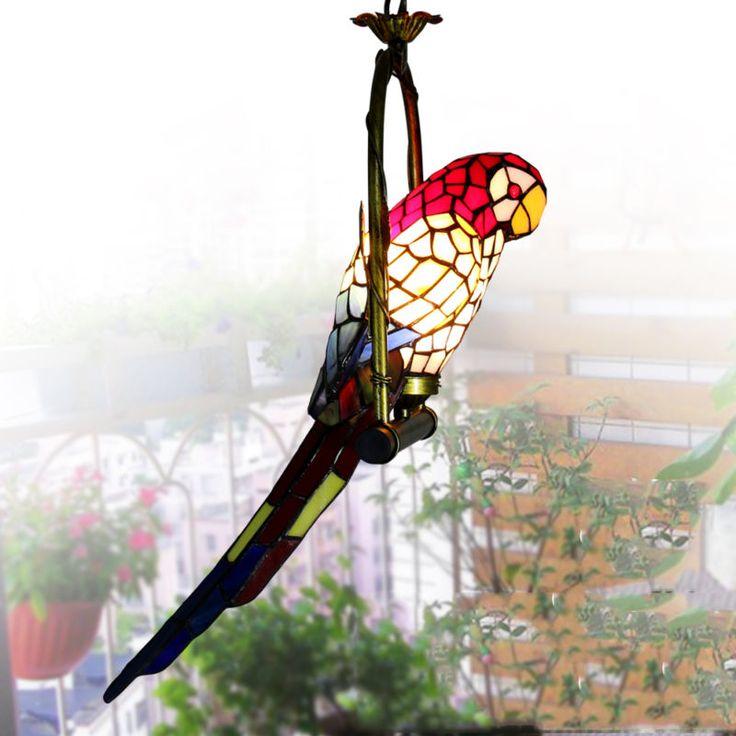 Ретро ПОТОЛОЧНЫЕ стиль люстра витражи попугай декор подвеска лампа свет