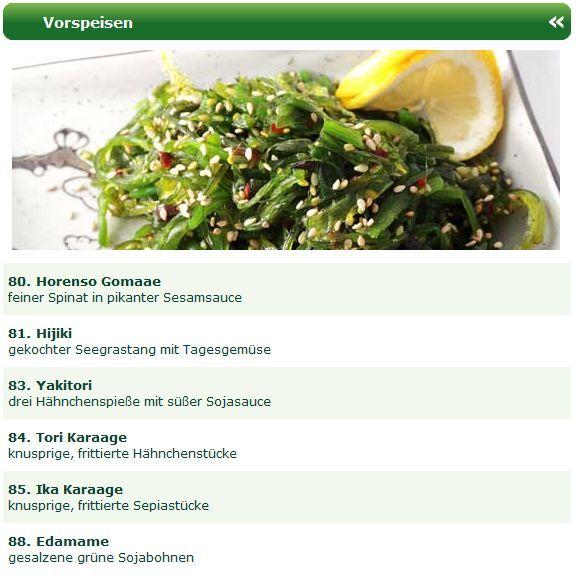 Wer neben ausgezeichnete Sushi Spezialitäten auch gerne japanische Vorspeisen genießen möchte kann es sich in Düsseldorf gemütlich machen. Mit der Online Speisekarte vom Man Thei Sushi Lieferservice Düsseldorf sucht man sich einfach die gewünschten Vorspeisen aus und bestellt sich die bequem und sicher online.