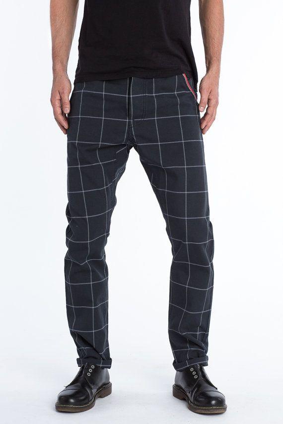 Pantaloni in tartan per gli uomini  sciolto  di PANDOwear su Etsy