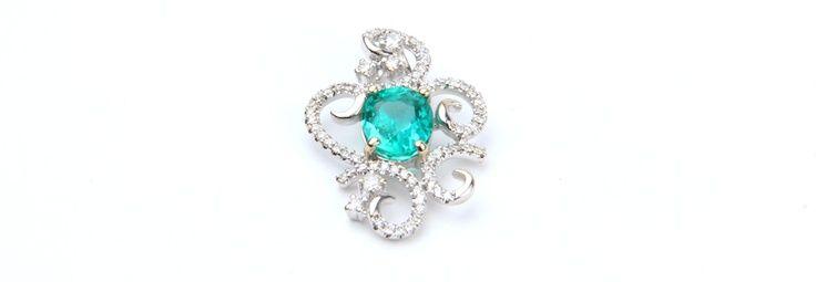 Dije Oro Blanco 18K Esmeralda Diamantes #Dijes #Esmeraldas #Oroblanco