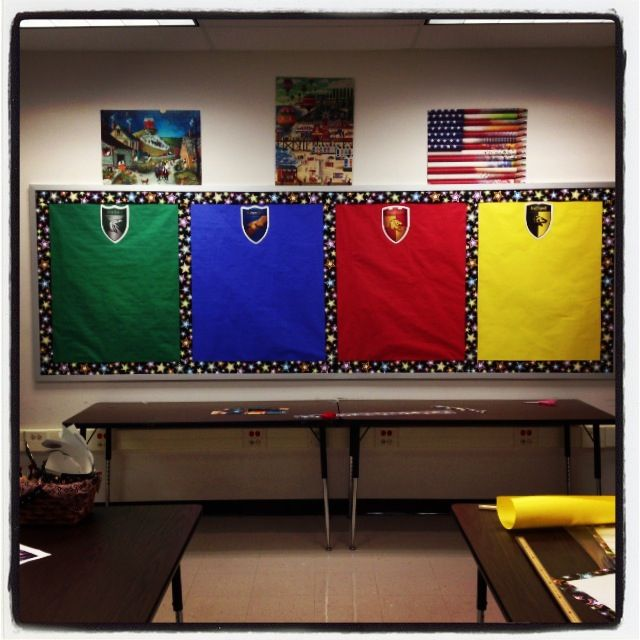 My House Points bulletin board! The students will be sorted into houses and earn points throughout the year!