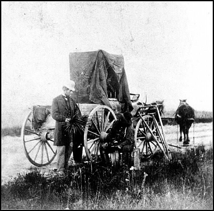 Photographer Alexander Gardner's portable darkroom, 1867. Gardner was one of the individuals taking photographs during the Civil War. 1867.