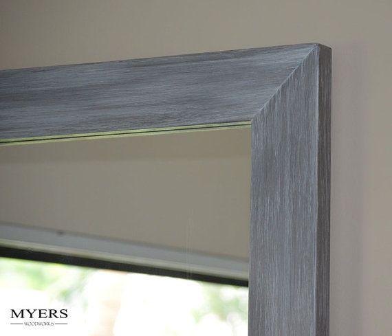 Wood Mirror - Gray Bathroom Mirror - Weathered Mirror