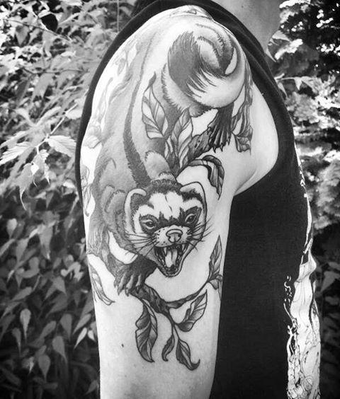 https://www.facebook.com/GruengoldArt/?fref=ts #frettchen #ferret #polecat #blackngreytattoo #pettattoo #iloveferrets #tattoo
