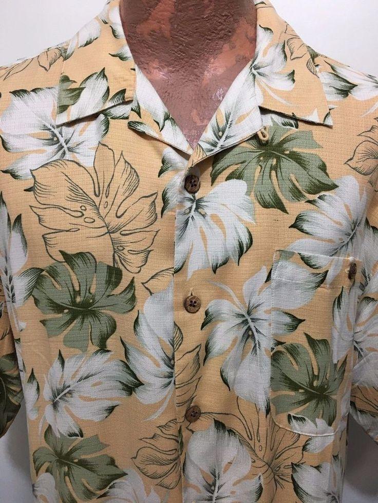 Tommy Bahama Mens M Peach Green White Palm Leaves Hawaiian Silk Shirt  #TommyBahama #Hawaiian