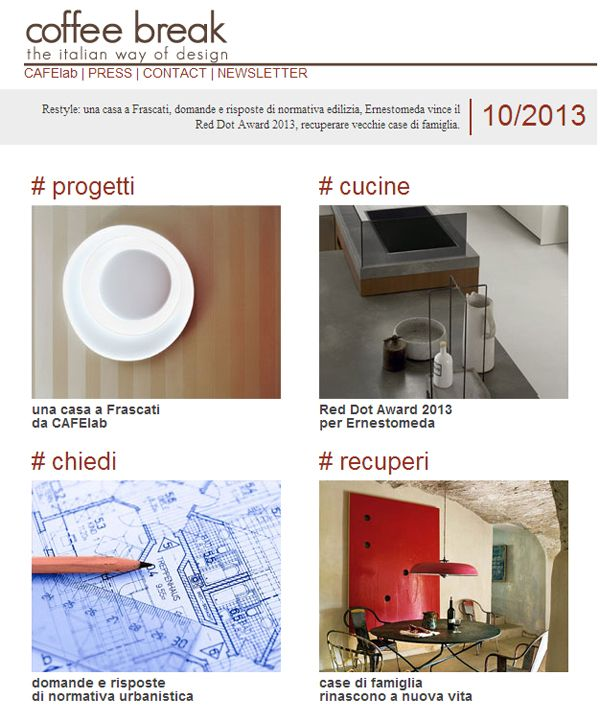 Coffee Break | The Italian Way of Design: Newsletter 10/2013 is OUT!