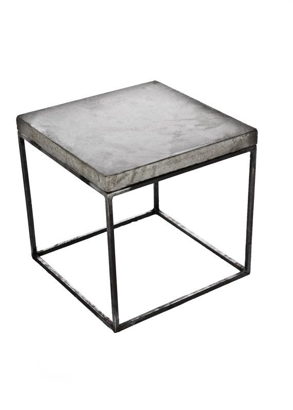 This is a clear-coated raw steel cube with a concrete top. At 17 ⨉ 17 ⨉ 23.5 it makes a perfect extra high nighstand or bedside table. Use one by