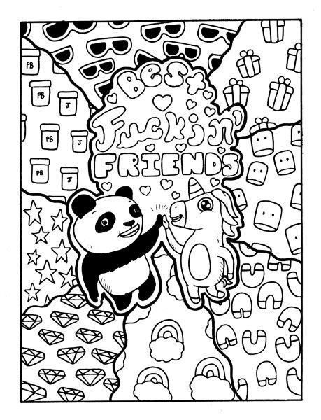 panda unicorn adult coloring page swear get 14 free printable coloring pages visit swearstressawaycom to download and print 14 swear word coloring