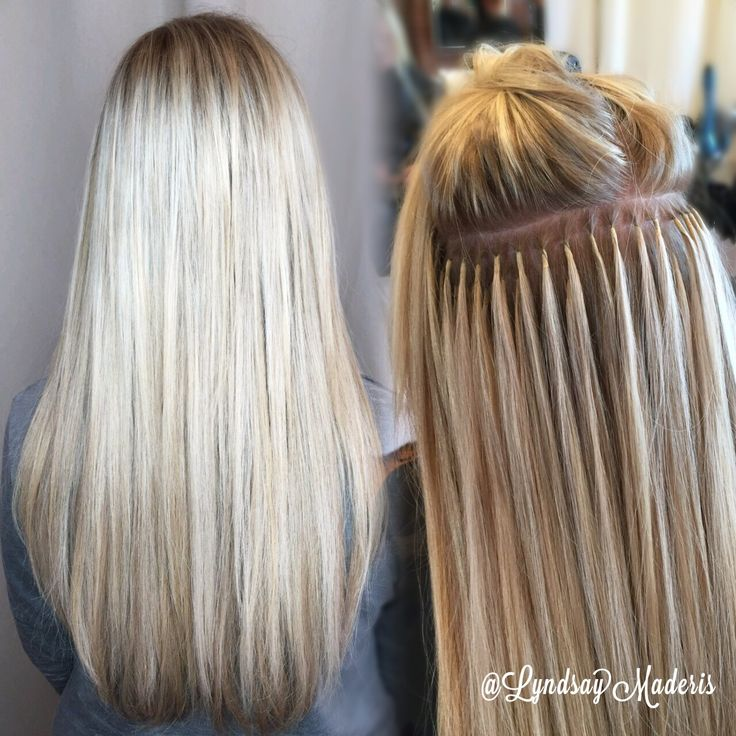 Custom Keratin bonds using @greatlengthsusa blonde hair extensions