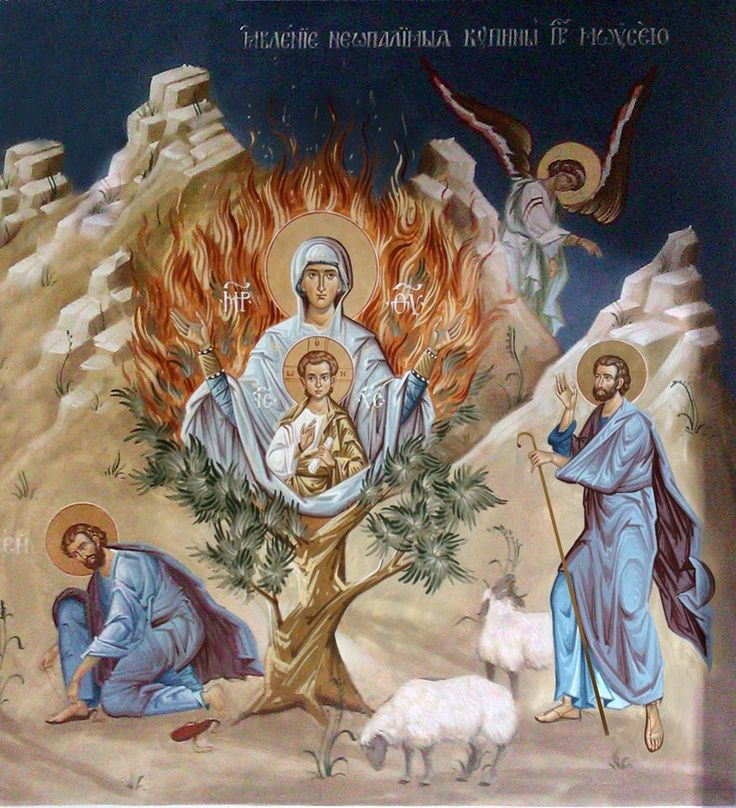 "Icon of the Mother of God ""the Unburnt Bush"" https://oca.org/saints/lives/2010/09/04/102500-icon-of-the-mother-of-god-the-unburnt-bush"