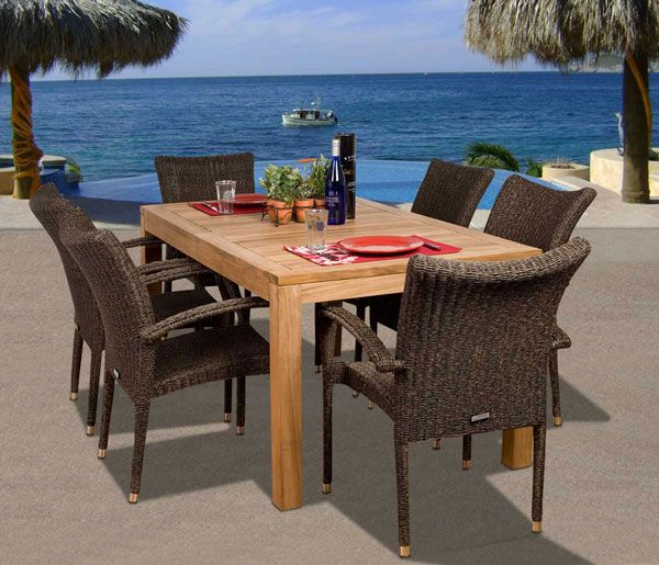 Probably the most popular teak and wicker combinations is the teak and wicker dining set. Teak tabletops are gorgeous point blank. They help bring you closer to the great outdoors when enjoying an outdoor dinner. Wicker adds a modern flare to keep your home up to date with the latest outdoor trends for a transitional outdoor setting. Here are a few of my favorites.