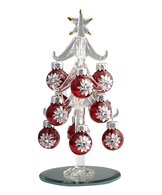 Ls arts red crystal ornament miniature glass tree set
