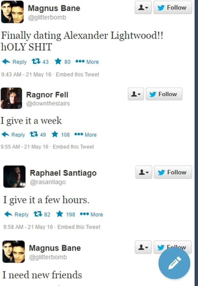 Ragnor and Raphael Santiago bashing on Malec on Twitter | TMI Shadowhunters
