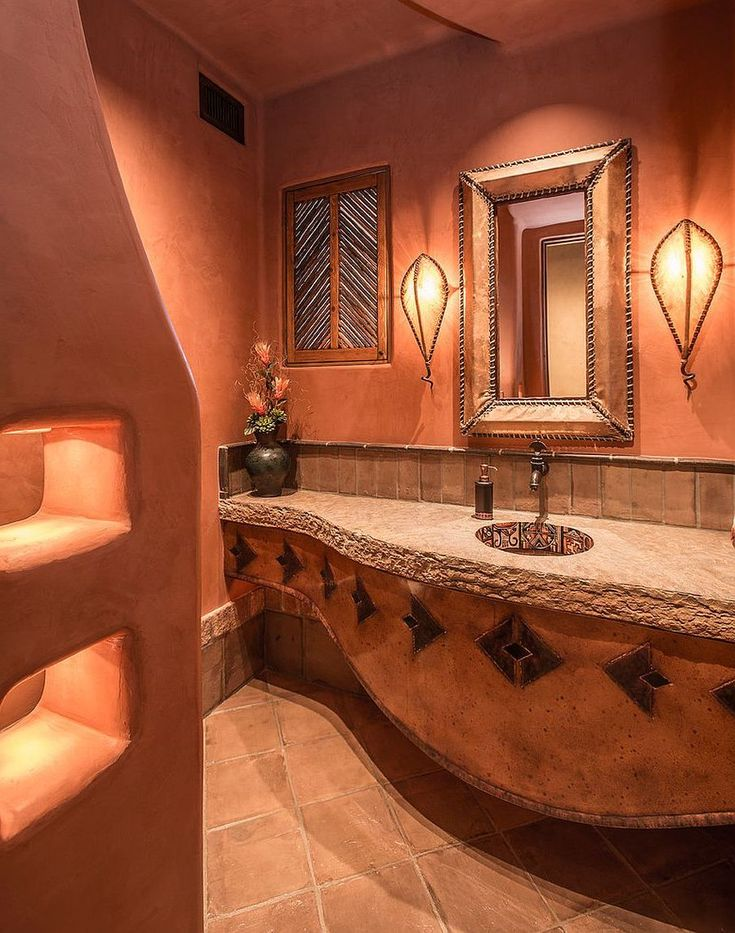 Orange Bathroom Decor With Ingenious Powder Room Full Of Textural Beauty And Color Burnt Orange Bathroom