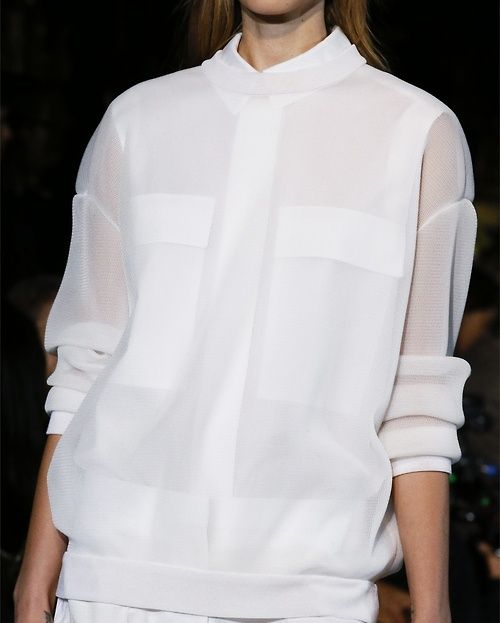 Slouchy white top with layered sheer fabrics; urban chic fashion details // Stella McCartney ss13