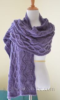#174 Simpatico Alpaca Stole PDF Knitting Pattern. I wear this one a lot during windy or cooler nights out! It goes beautifully with my grey outerwear and purple wool swing coat! NOW, I need one in a beige or heathered grey to go with every other color in my coat closet! It's a fabulous project for knitting in the car, when I'm the gymnastics mom, or waiting in the school pickup line! SweaterBabeKnittingGiveaway