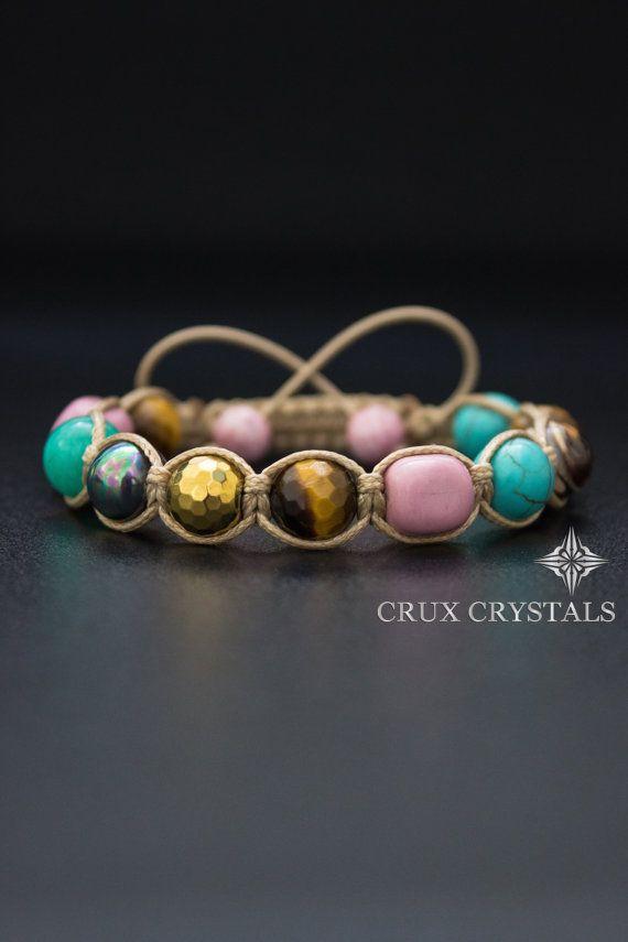 Madagascar// Women's Shamballa Bracelet, Natural Stone Jewelry, Beaded Bracelet, Pink Bracelet - Tiger's Eye, Turquoise, Hematite, Rhodonite