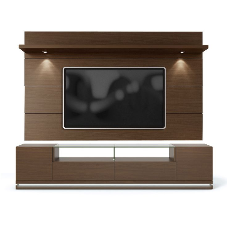 Manhattan Comfort Vanderbilt Tv Stand And Cabrini 2.2 Floating Wall Tv Panel With Led Lights