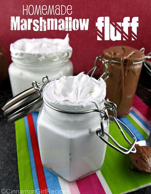 Marshmallow and chocolate marshmallow fluff.