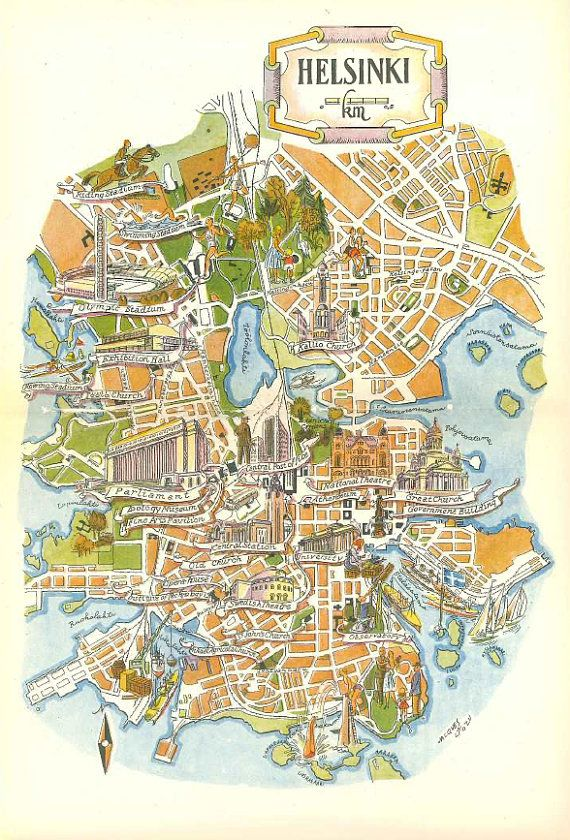 Helsinki Map Art / Retro Map Decor / Helsinki Finland Map.  City map art of Helsinki -- this is not a scan or reprint. It is an original and whimsical street map of Helsinki, Finland (Suomi) by Jacques Liozu. This page displays a vintage print comes from a 1950s book on Scandinavia and world travel, with dimensions of 7.5 X 11 inches.   #finland #scandinaviastandard #scandi #map #vintagemap #helsinki
