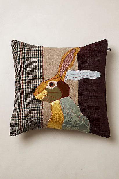 Patchwork Forest Creature Pillow #anthropologie Love these applique, patch-worked pillows!