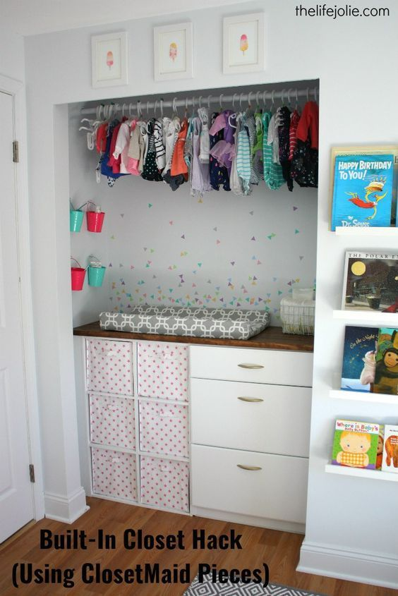 Built In Closet Hack For Bubbles Nursery Using Closetmaid Pieces The O Jays Drawers And