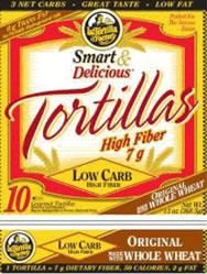 La Tortilla Factory Smart & Delicious Low Carb High Fiber Tortillas. It's a pretty tasty whole wheat tortilla and the large size is only 80 calories, has 8g of protein and 12g of fiber! That's a lot of nutrition for a single tortilla! And they're sold in 20-packs at my local Costco now. (The picture shown is the packaging for the smaller 50-calorie tortilla).