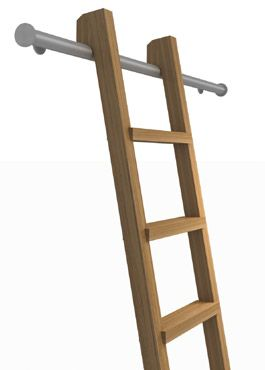 Mezzanine access ladder we will use - ash, with brushed stainless steel hand rails on both sides and ladder hooks