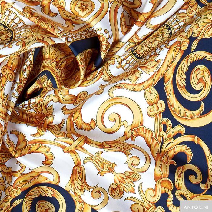 ANTORINI Vintage Silk Scarf in Blue