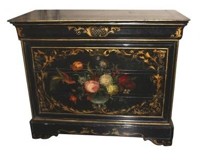 floral painted furniture. french painted louis philippe commode from the late 19th century having a lacquered patina floral furniture