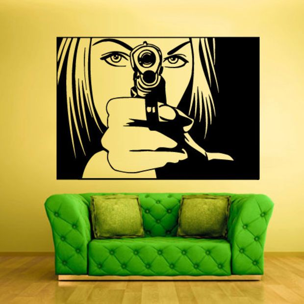 Wall Vinyl Sticker Decals Decor Art Bedroom Wall Decal Design Mural  Portrait Girl With Gun Part 97
