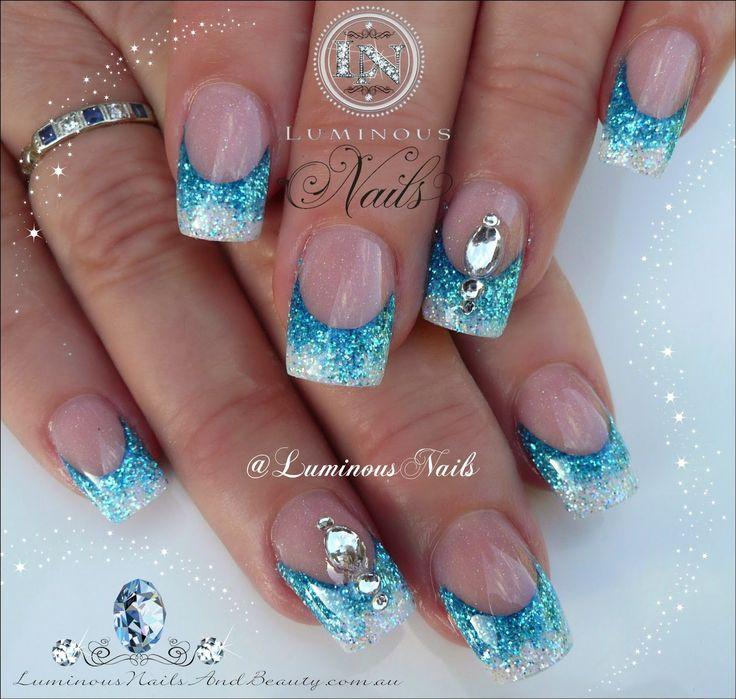Luminous Nails: Glittery Blue & white Nails...