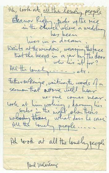 Eleanor Rigby lyric sheet