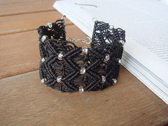 Boho chic beaded black macrame lace cuff bracelet by TimeNLight, $20.00